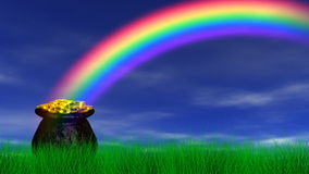 Pot of Gold at End Rainbow (Reveal + Loop) stock footage