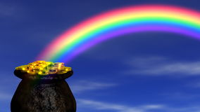 Pot of Gold at End Rainbow stock footage