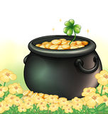A pot of gold in the garden Stock Photos