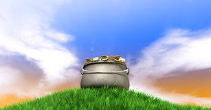 Pot Of Gold On Grassy Hill Stock Images