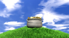 Pot Of Gold On Grassy Hill Royalty Free Stock Photos