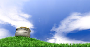 Pot Of Gold On Grassy Hill Stock Photos