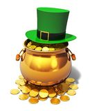 Pot of Gold and green Leprechaun hat Royalty Free Stock Photography