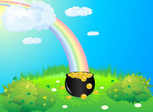 Pot gold green meadow Royalty Free Stock Photography