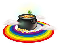 A pot of gold inside the rainbow Stock Photo