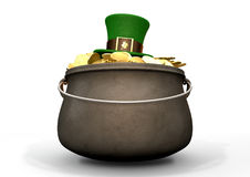 Pot Of Gold With Leprechaun Hat Stock Photos