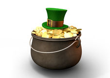 Pot Of Gold With Leprechaun Hat Stock Images
