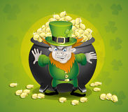 Pot of gold and leprechaun. Stock Photography
