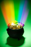 Pot of Gold: Magical Leprechaun Treasure With Rainbow Stock Photography