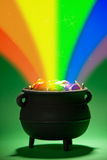 Pot of Gold: Magical Treasure with Rainbow Stock Photos