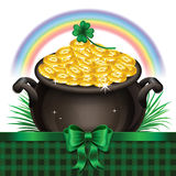 Pot Of Gold, Magical Treasure, St. Patrick's Day symbol. Vector Stock Photography