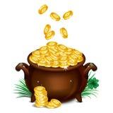 Pot Of Gold, Magical Treasure, St. Patrick's Day symbol. Vector Royalty Free Stock Photo