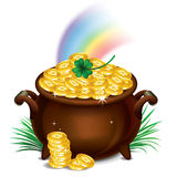 Pot Of Gold, Magical Treasure, St. Patrick's Day symbol. Vector Royalty Free Stock Images