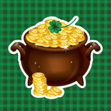 Pot Of Gold, Magical Treasure, St. Patrick's Day symbol. Vector Royalty Free Stock Photos