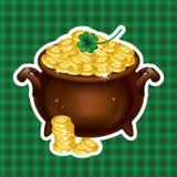 Pot Of Gold, Magical Treasure, St. Patrick's Day symbol. Vector Royalty Free Stock Photos