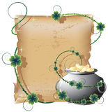 Pot with gold and the manuscript Royalty Free Stock Image