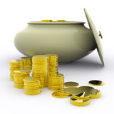 Pot Of Gold Means Money Or Luck Royalty Free Stock Images