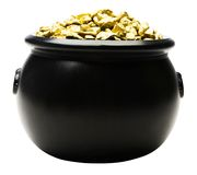 Pot of gold nuggets. Isolated over white Royalty Free Stock Photo