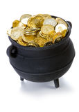 Pot of Gold: Pot Full Of Gold Isolated on White. Series with a cauldron holding riches.  Good for St. Patrick's Day holiday or other money related concepts Royalty Free Stock Image