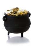 Pot of Gold: Pot Full Of Gold Isolated on White. Series with a cauldron holding riches.  Good for St. Patrick`s Day holiday or other money related concepts Royalty Free Stock Photo