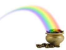 Pot of Gold in a rainbow Royalty Free Stock Photos