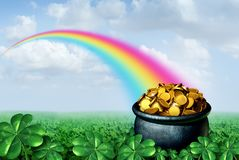 Pot Of Gold Rainbow. Pot of gold at the end of a rainbow Saint Patricks day concept with a green clover field on a golden sparling treasure as a symbol for royalty free illustration