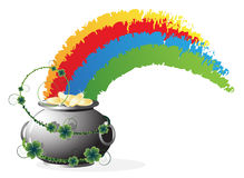 Pot with gold  and rainbow Stock Image