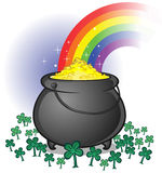 Pot of gold with rainbow on white backdrop stock illustration