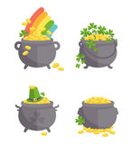 Pot with gold set Stock Photography