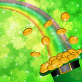 Pot of Gold Shamrock Blurred Background. Pot of Gold and Rainbow Over Lucky Irish Shamrock Four-Leaf Clover Blurred Background Illustration Stock Photography