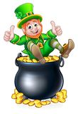 Pot of Gold St Patricks Day Leprechaun. A St Patricks day leprechaun giving a thumbs up in a pot of gold coins stock illustration