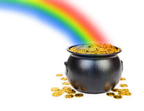 Pot of Gold Under The Rainbow. Large black pot filled with gold coins at the end of a colorful rainbow with room for text Royalty Free Stock Images