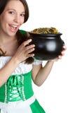 Pot of Gold Woman. Irish woman holding pot of gold Royalty Free Stock Photo