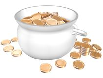 Pot with golden. Pot of gold coins isolate on a white background royalty free illustration
