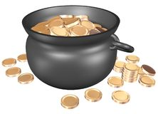 Pot with golden. Pot of gold coins isolate on a white background stock illustration