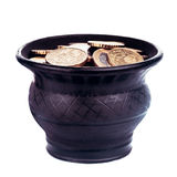 Pot with golden coins Royalty Free Stock Photography