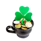 Pot with golden coins Royalty Free Stock Image