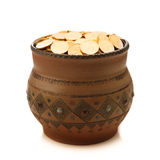 Pot with golden coins Royalty Free Stock Photo