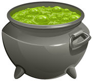 Pot with green magic potion Royalty Free Stock Photo