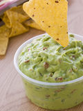 Pot Of Guacamole With A Corn Tortilla Crisp Royalty Free Stock Image