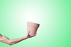 Pot in the hand. Hand hold a pot Stock Photography