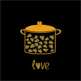 Pot with hearts. Love card.  Gold sparkles glitter texture Black background Stock Images