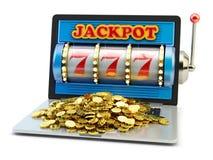 Pot, het gokken aanwinst, geluk en succesconcept, casino app royalty-vrije stock fotografie