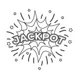 Pot, het winnen bij het casino De grootste winst in de spelclub Kasino enig pictogram in het vectorsymbool van de overzichtsstijl Royalty-vrije Stock Foto's