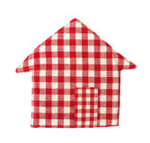 Pot holder lovely red and white shaped as house Royalty Free Stock Photography