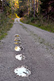 Pot holes in dirt road Royalty Free Stock Photography