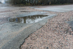 Pot holes with water in road Royalty Free Stock Image