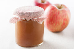 Pot of homemade apple jam Royalty Free Stock Images