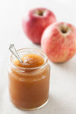 Pot of homemade apple jam Stock Image