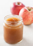 Pot of homemade apple jam Stock Images